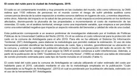 El costo del ruido para la ciudad de Antofagasta, 2019.